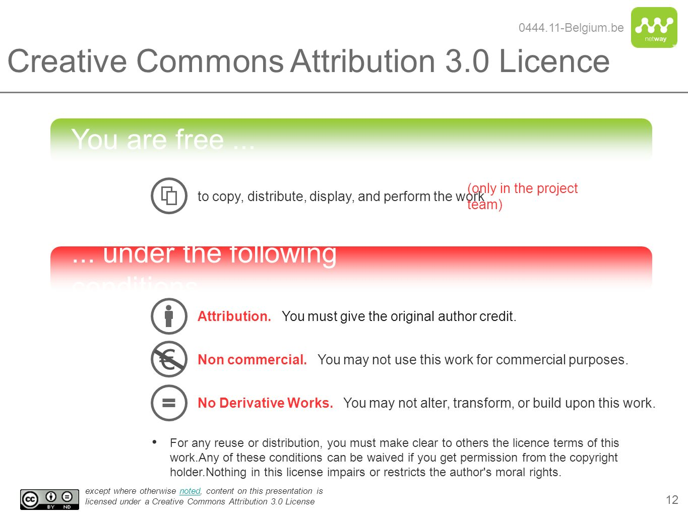 Creative Commons Attribution 3.0 Licence