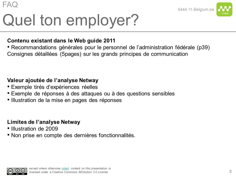 Quel ton employer FAQ Contenu existant dans le Web guide 2011