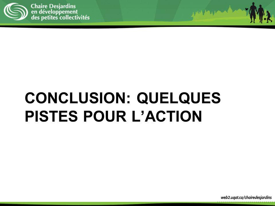 CONCLUSION: QUELQUES PISTES POUR L'ACTION