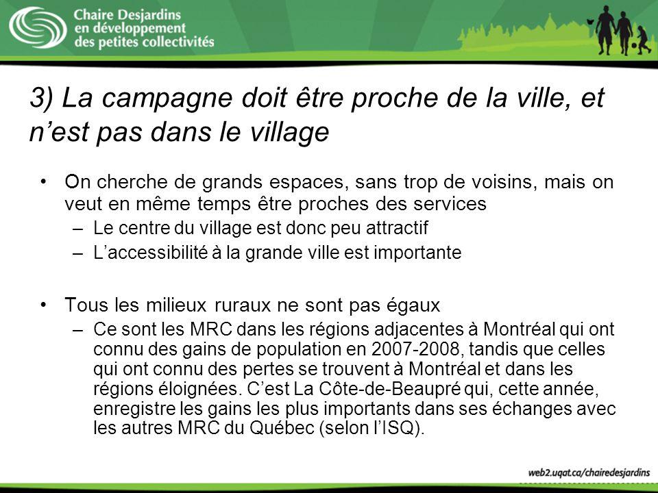 3) La campagne doit être proche de la ville, et n'est pas dans le village