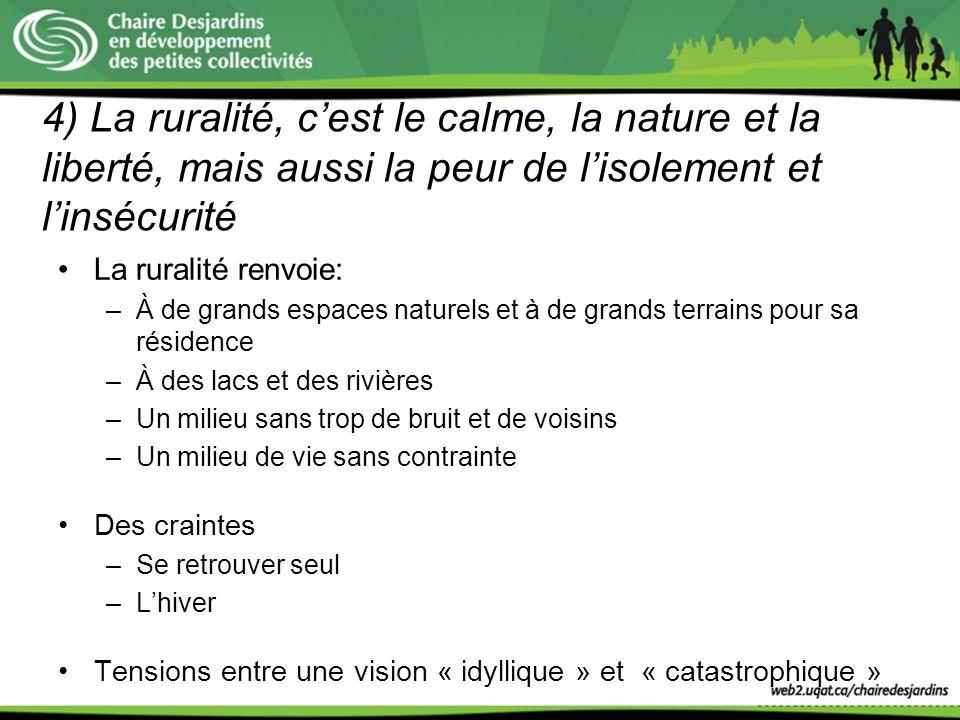 4) La ruralité, c'est le calme, la nature et la liberté, mais aussi la peur de l'isolement et l'insécurité