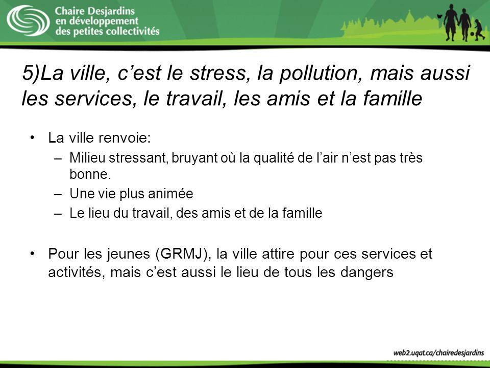 5)La ville, c'est le stress, la pollution, mais aussi les services, le travail, les amis et la famille