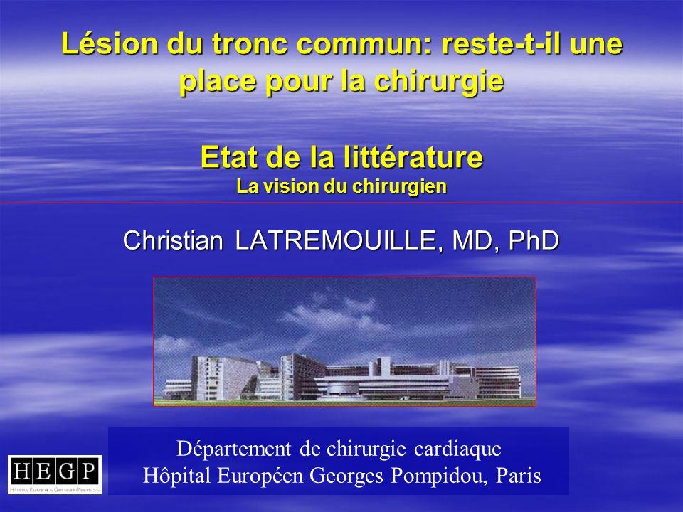 Lésion du tronc commun: reste-t-il une place pour la chirurgie Etat de la littérature La vision du chirurgien