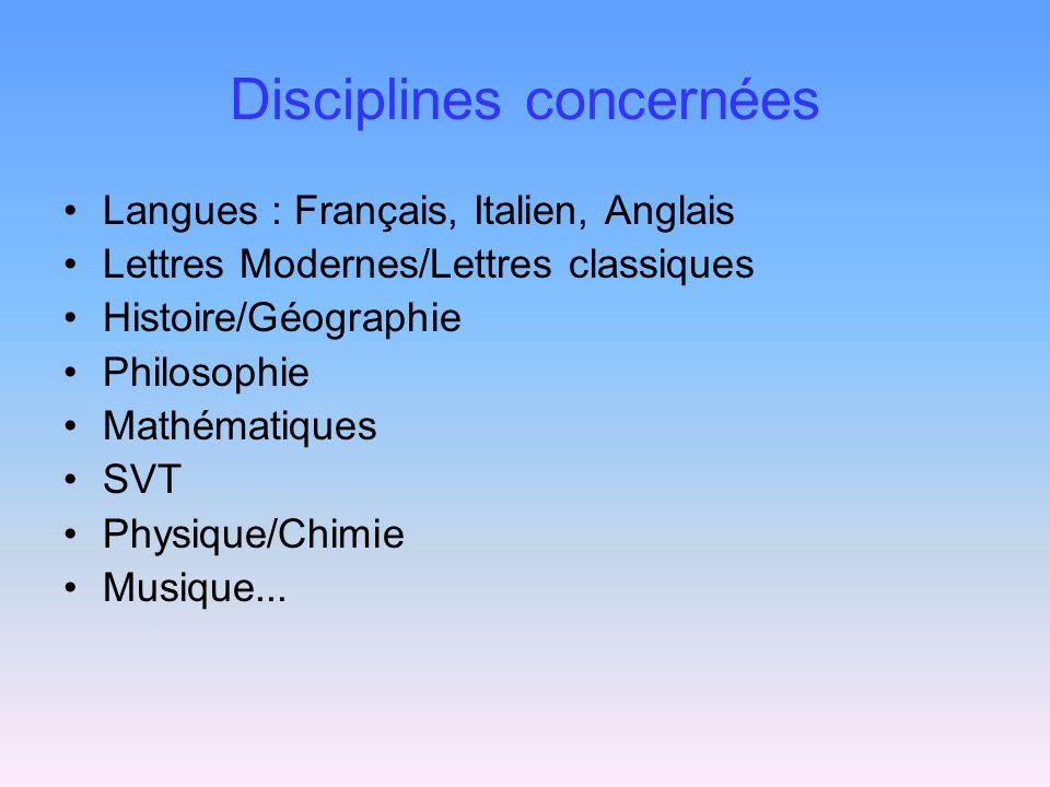 Disciplines concernées