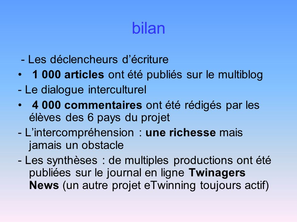 bilan - Les déclencheurs d'écriture