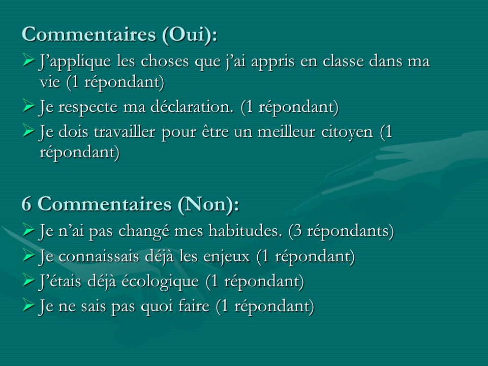 Commentaires (Oui): 6 Commentaires (Non):