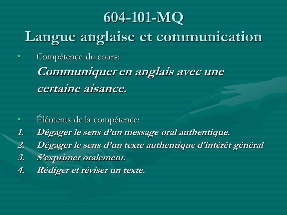 604-101-MQ Langue anglaise et communication
