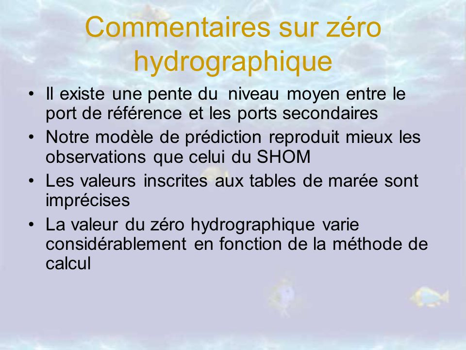 Commentaires sur zéro hydrographique