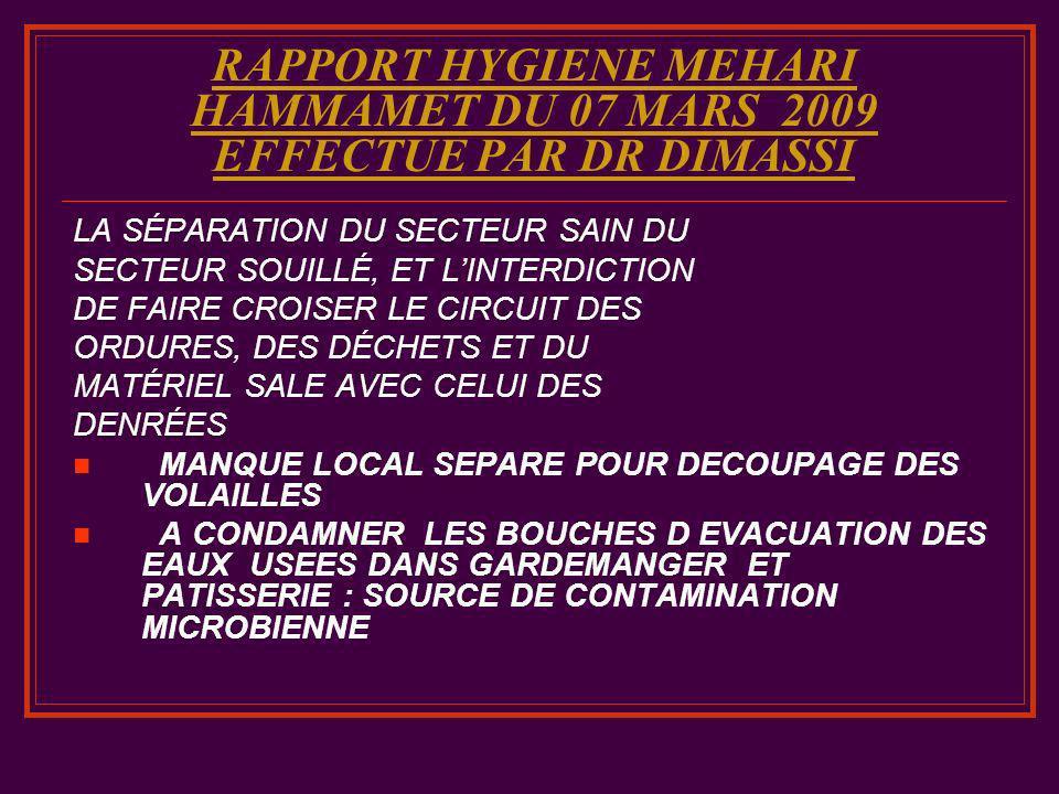 RAPPORT HYGIENE MEHARI HAMMAMET DU 07 MARS 2009 EFFECTUE PAR DR DIMASSI