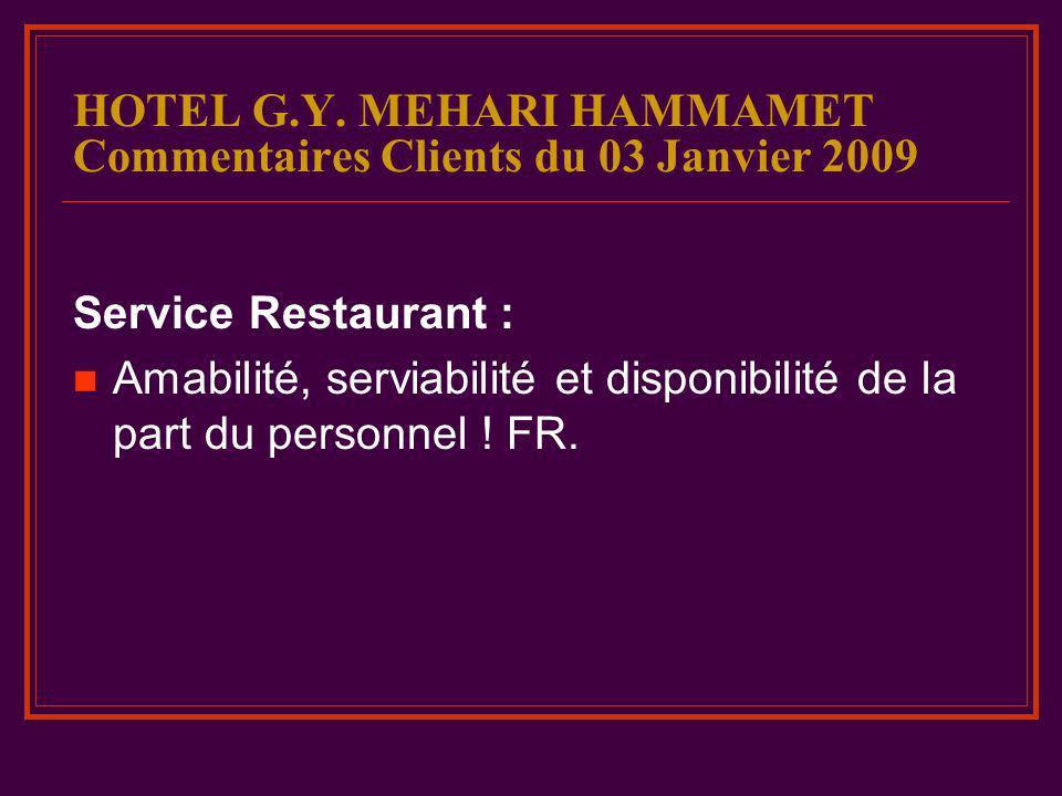 HOTEL G.Y. MEHARI HAMMAMET Commentaires Clients du 03 Janvier 2009
