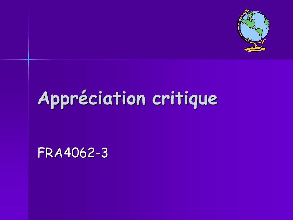 Appréciation critique