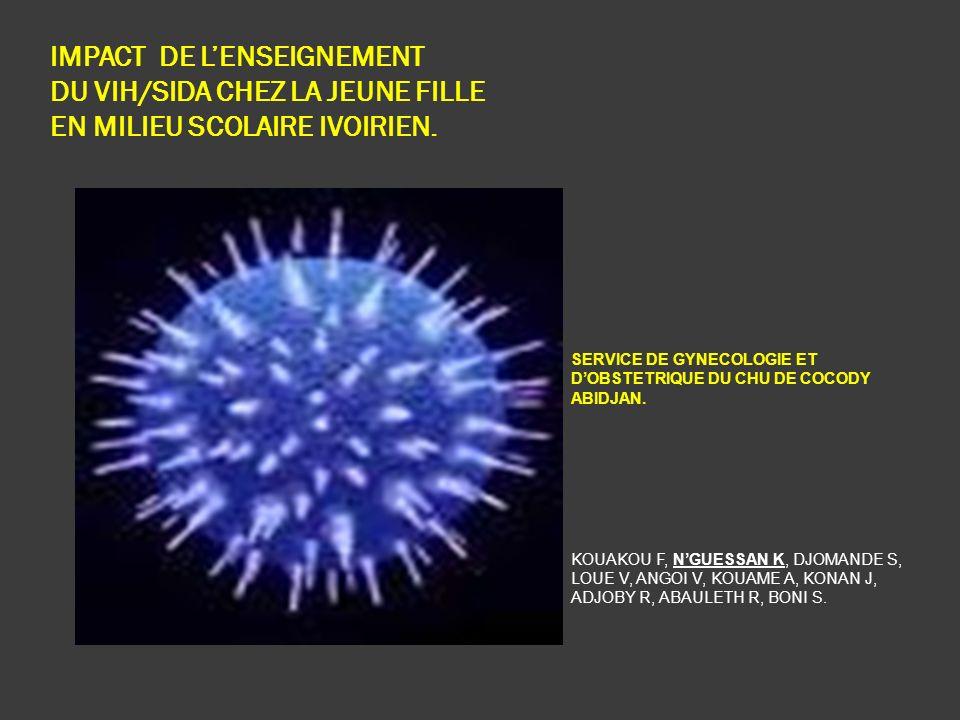 IMPACT DE L'ENSEIGNEMENT DU VIH/SIDA CHEZ LA JEUNE FILLE EN MILIEU SCOLAIRE IVOIRIEN.
