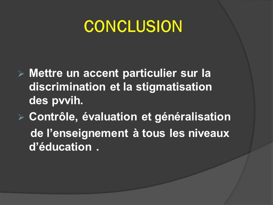CONCLUSION Mettre un accent particulier sur la discrimination et la stigmatisation des pvvih. Contrôle, évaluation et généralisation.