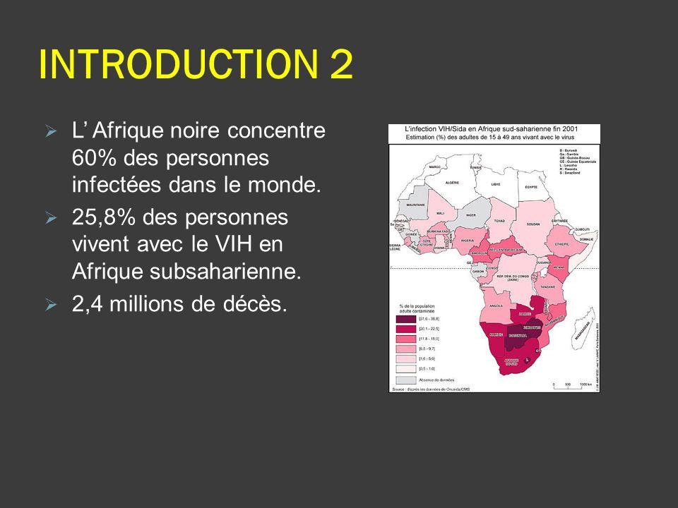 INTRODUCTION 2 L' Afrique noire concentre 60% des personnes infectées dans le monde.