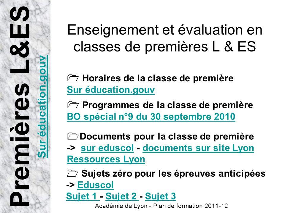 Enseignement et évaluation en classes de premières L & ES