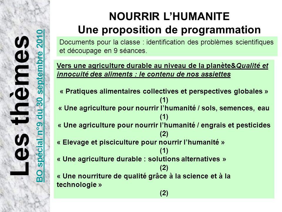 Les thèmes NOURRIR L'HUMANITE Une proposition de programmation