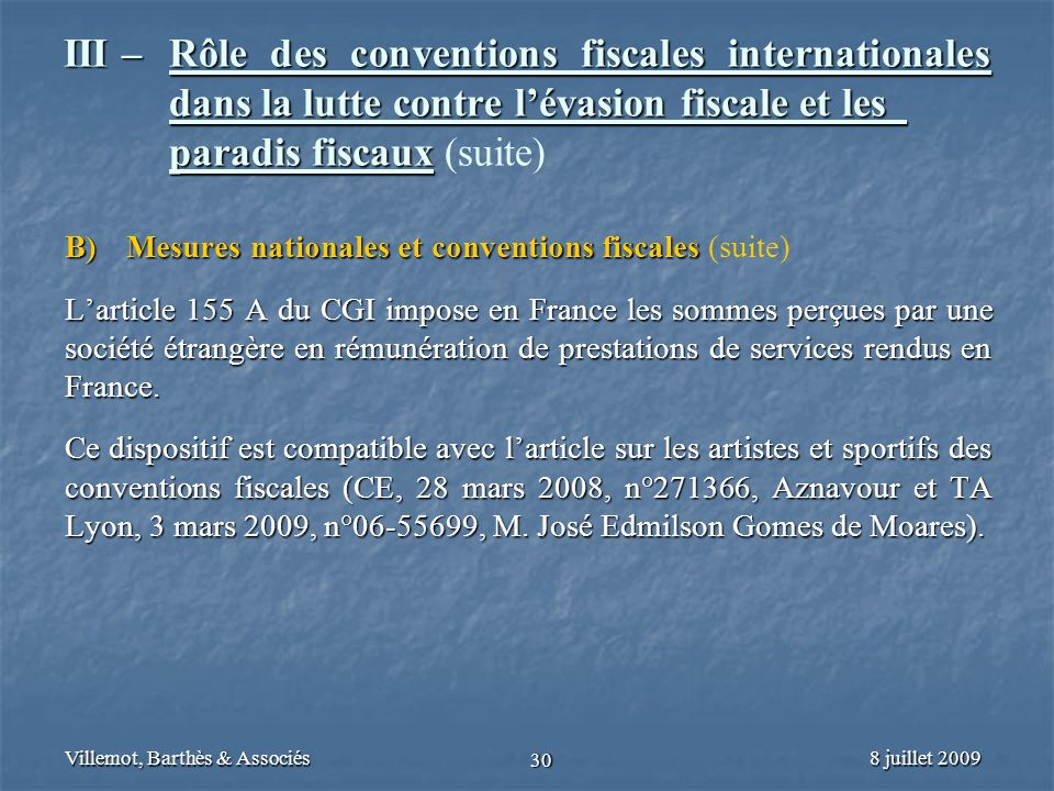 III –. Rôle des conventions fiscales internationales
