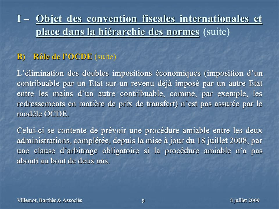 I –. Objet des convention fiscales internationales et
