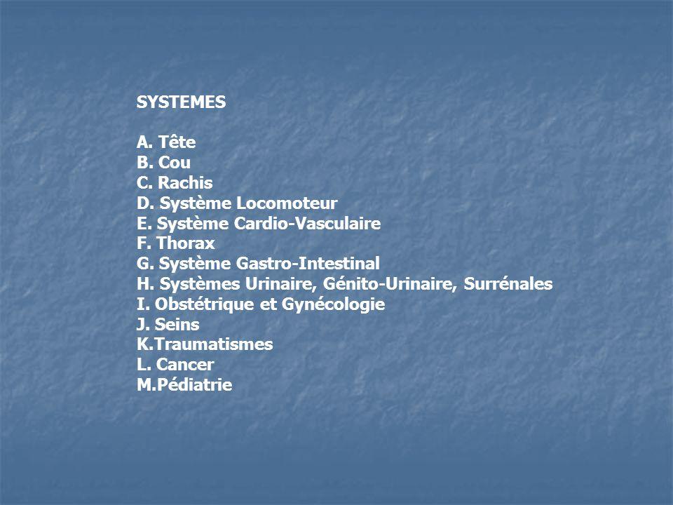 SYSTEMES A. Tête. B. Cou. C. Rachis. D. Système Locomoteur. E. Système Cardio-Vasculaire. F. Thorax.
