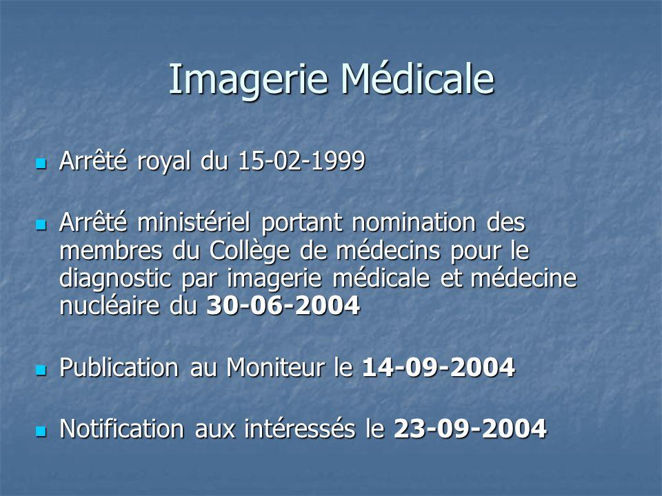 Imagerie Médicale Arrêté royal du 15-02-1999