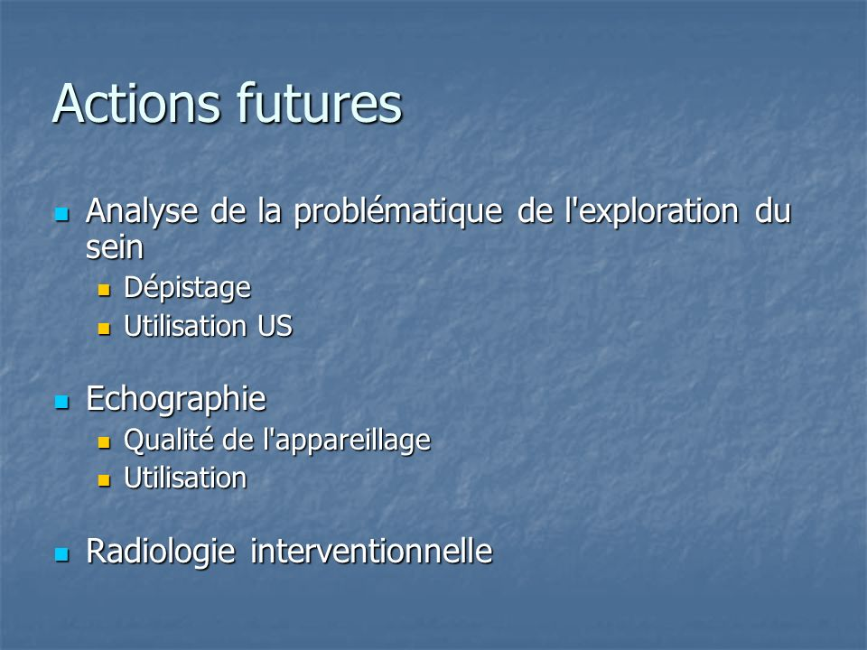 Actions futures Analyse de la problématique de l exploration du sein