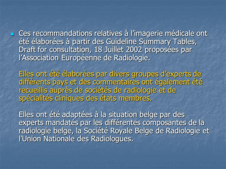 Ces recommandations relatives à l'imagerie médicale ont été élaborées à partir des Guideline Summary Tables, Draft for consultation, 18 Juillet 2002 proposées par l'Association Européenne de Radiologie.