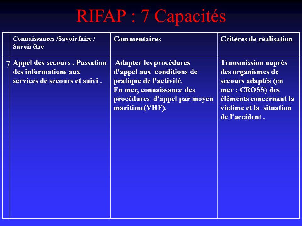 RIFAP : 7 Capacités 7 Commentaires Critères de réalisation