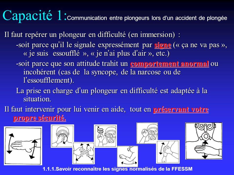 Capacité 1:Communication entre plongeurs lors d'un accident de plongée