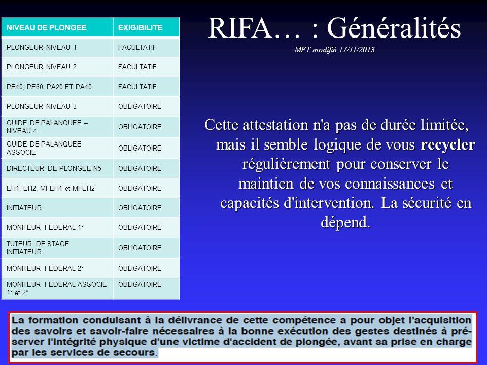 RIFA… : Généralités MFT modifié 17/11/2013. NIVEAU DE PLONGEE. EXIGIBILITE. PLONGEUR NIVEAU 1. FACULTATIF.