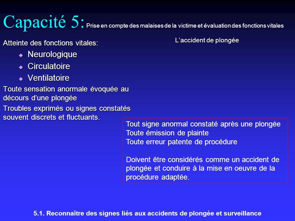 Capacité 5: Prise en compte des malaises de la victime et évaluation des fonctions vitales