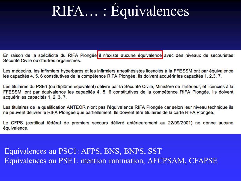 RIFA… : Équivalences Équivalences au PSC1: AFPS, BNS, BNPS, SST