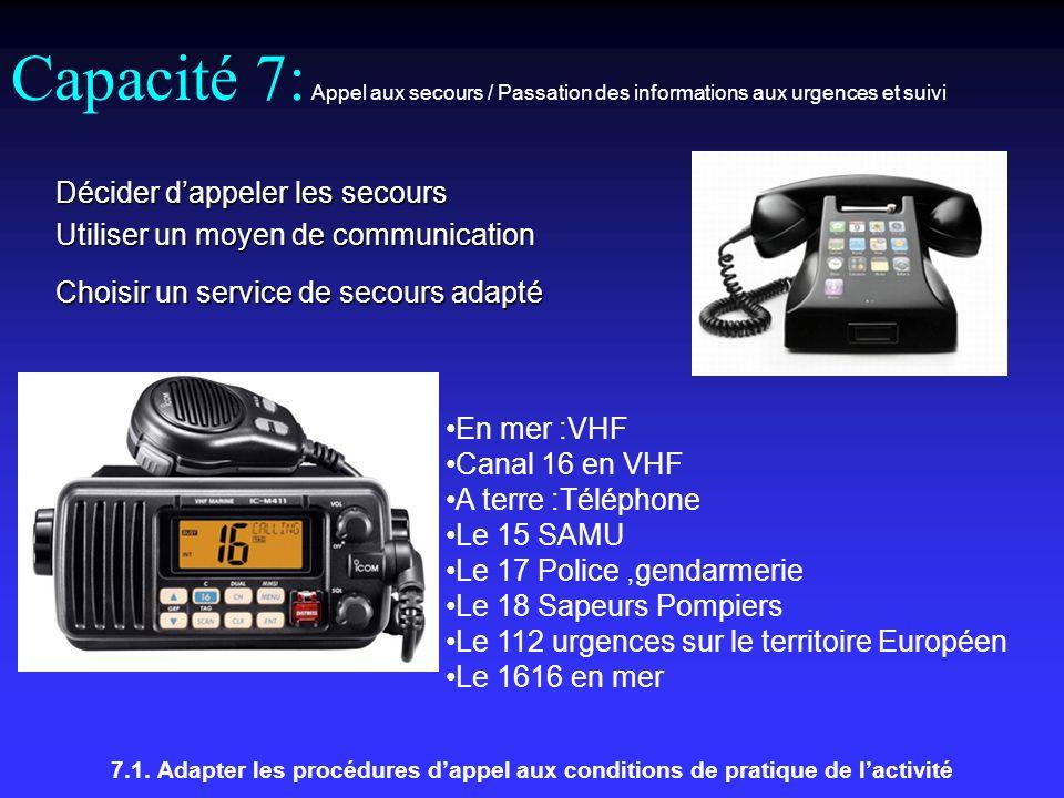 Capacité 7: Appel aux secours / Passation des informations aux urgences et suivi