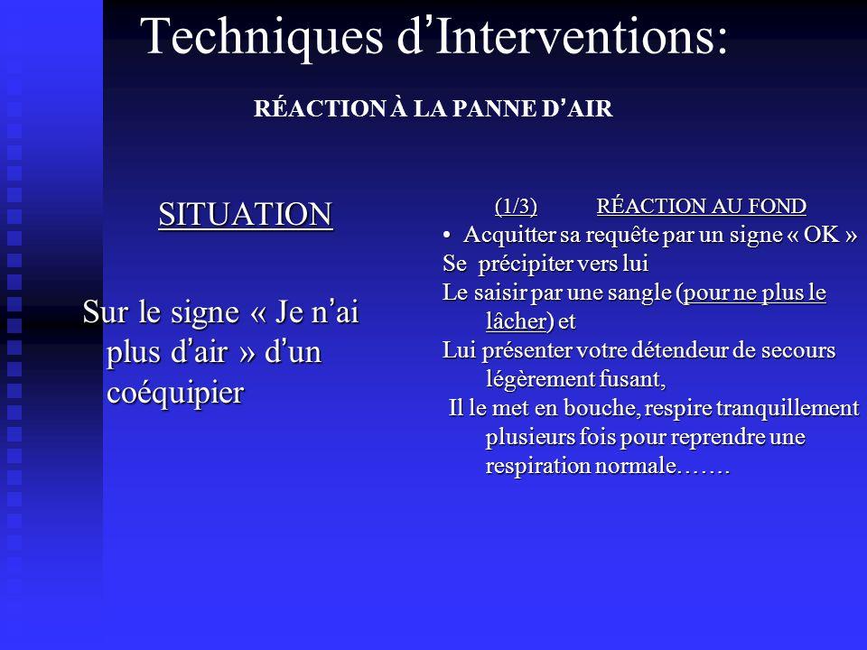 Techniques d'Interventions: RÉACTION À LA PANNE D'AIR