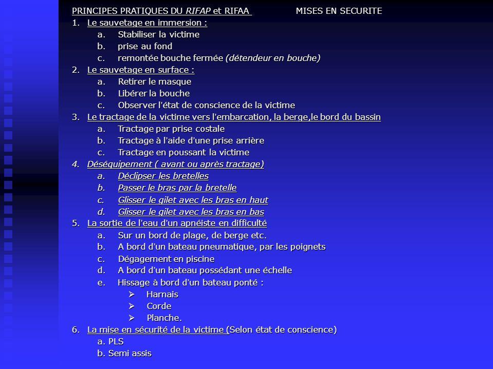 PRINCIPES PRATIQUES DU RIFAP et RIFAA MISES EN SECURITE
