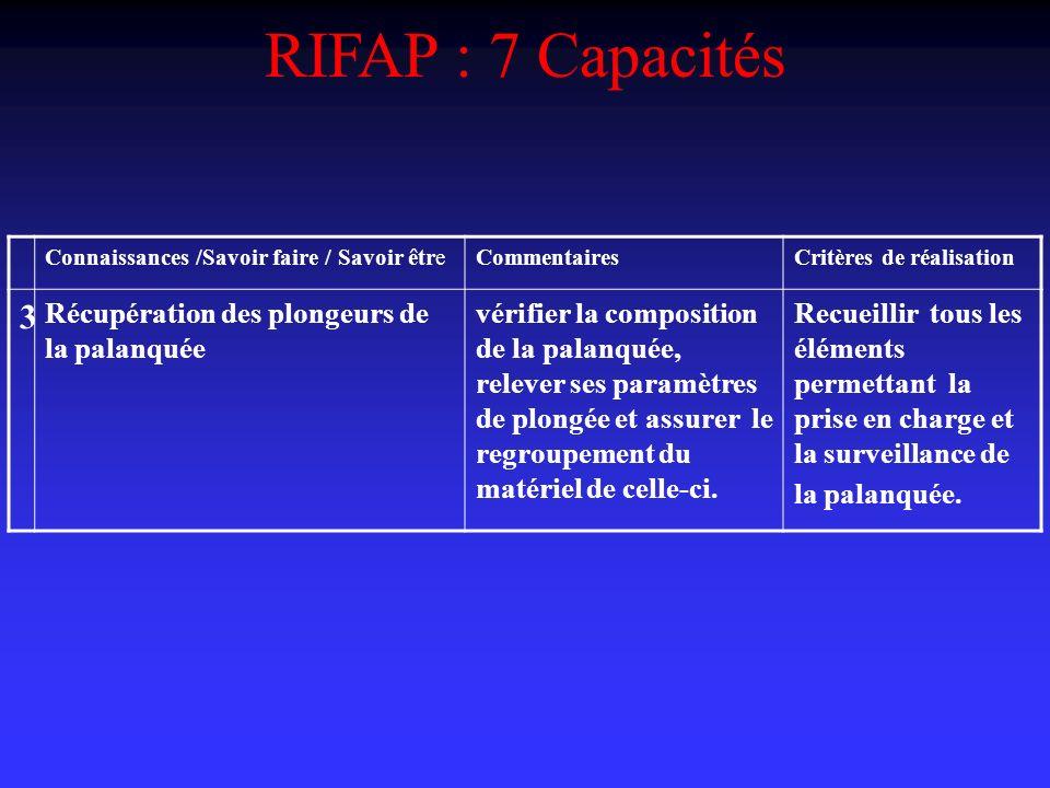 RIFAP : 7 Capacités 3 Récupération des plongeurs de la palanquée