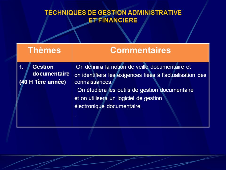 TECHNIQUES DE GESTION ADMINISTRATIVE ET FINANCIERE