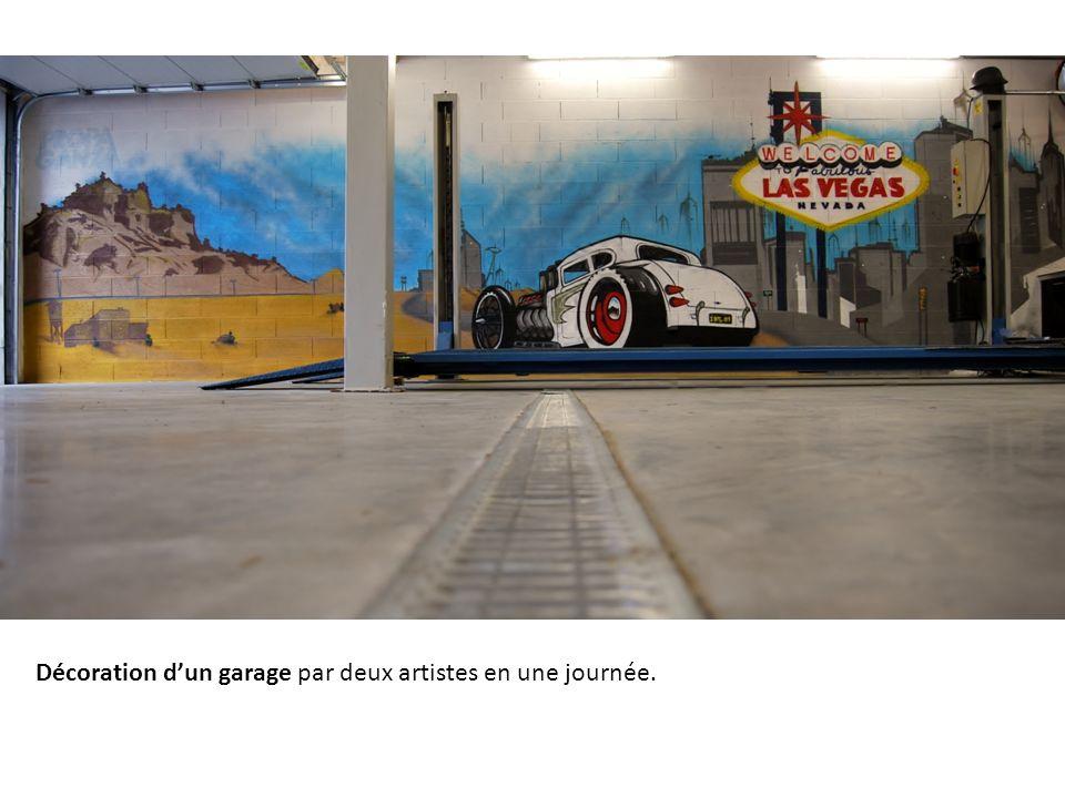 Décoration d'un garage par deux artistes en une journée.