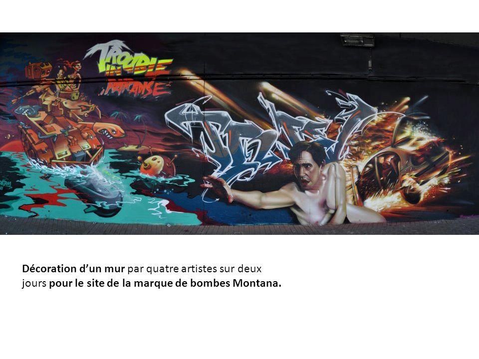 Décoration d'un mur par quatre artistes sur deux jours pour le site de la marque de bombes Montana.
