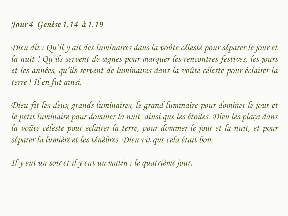 Jour 4 Genèse 1.14 à 1.19