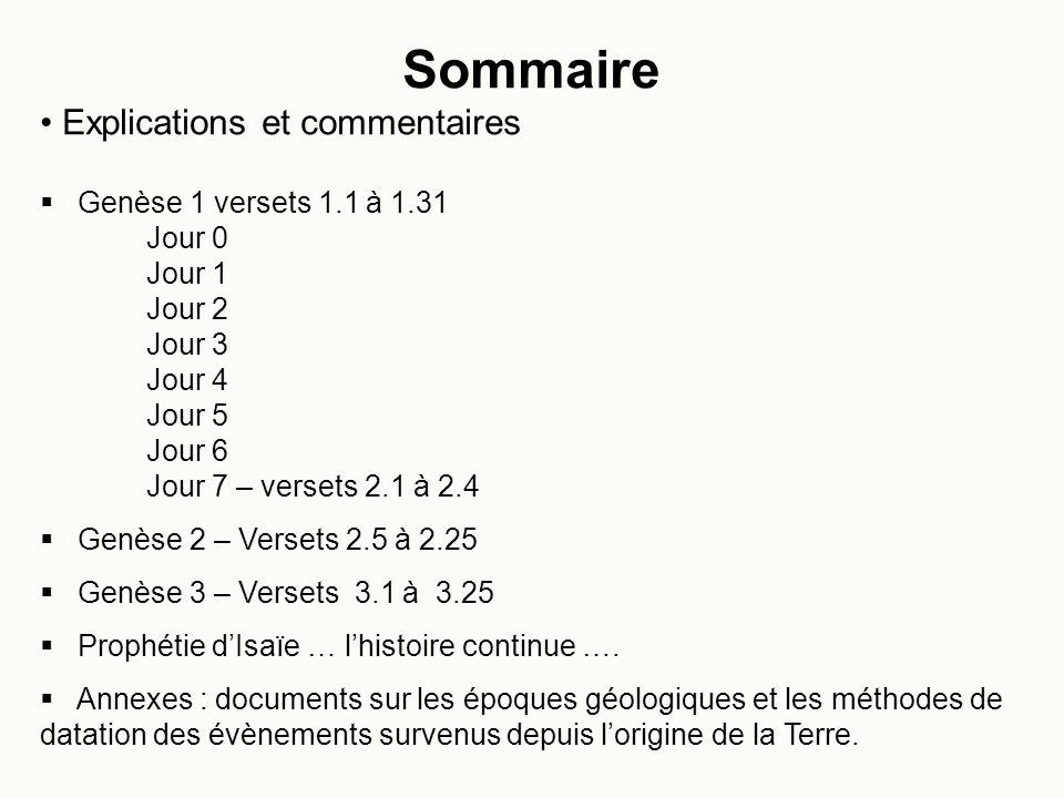 Sommaire Explications et commentaires Genèse 1 versets 1.1 à 1.31
