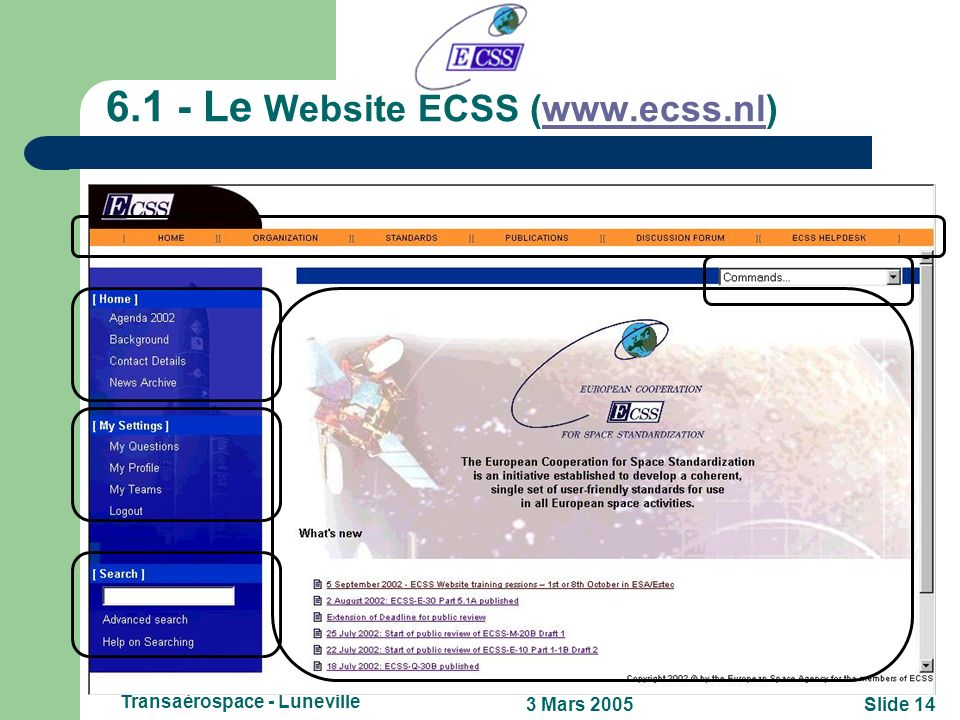 6.1 - Le Website ECSS (www.ecss.nl)