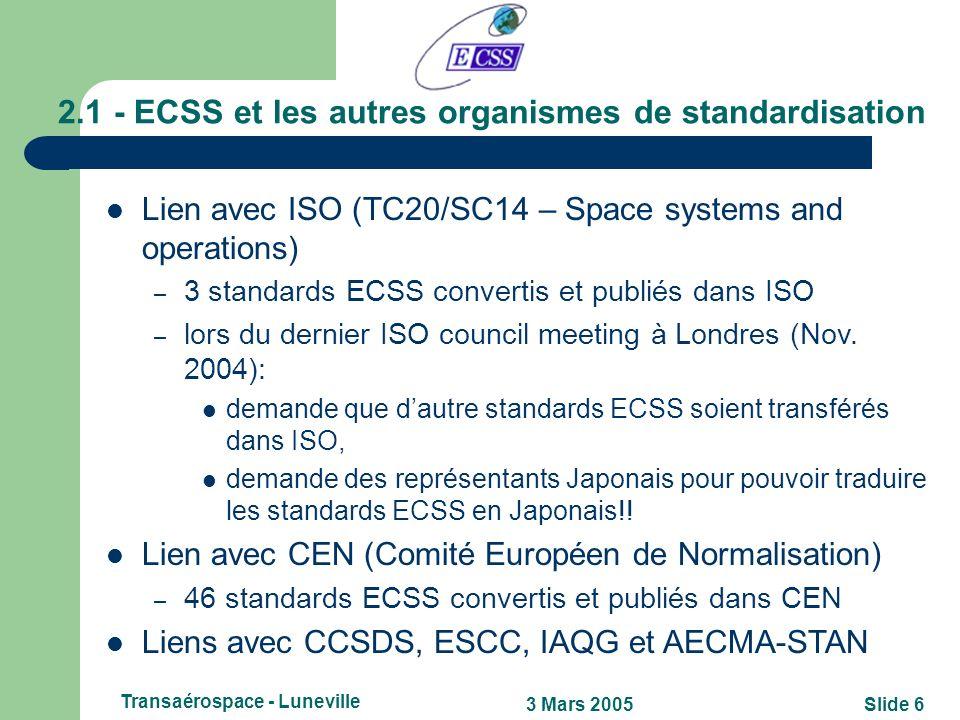 2.1 - ECSS et les autres organismes de standardisation