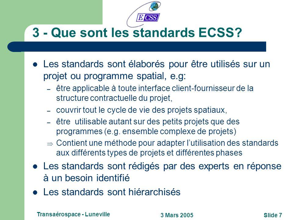 3 - Que sont les standards ECSS