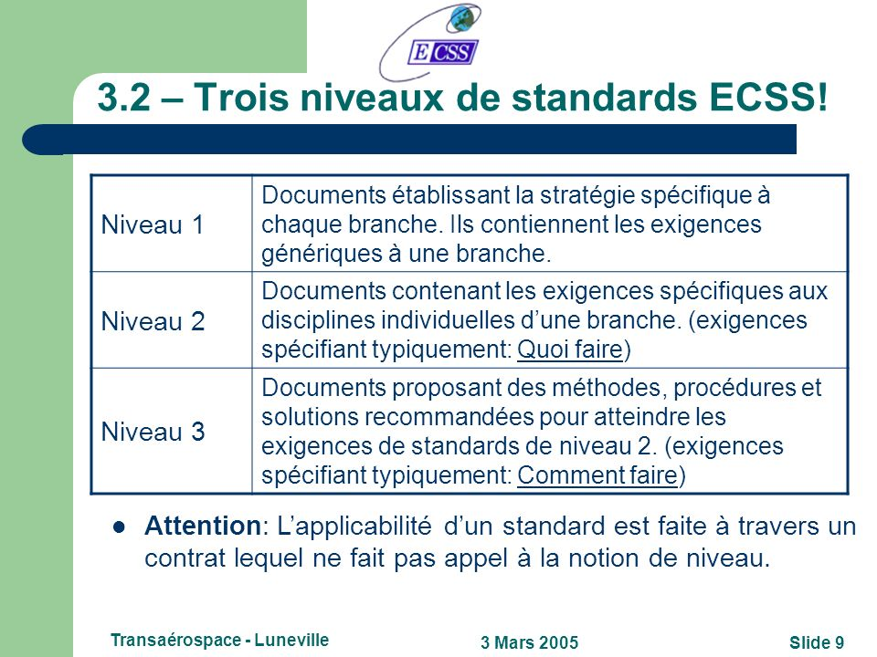 3.2 – Trois niveaux de standards ECSS!