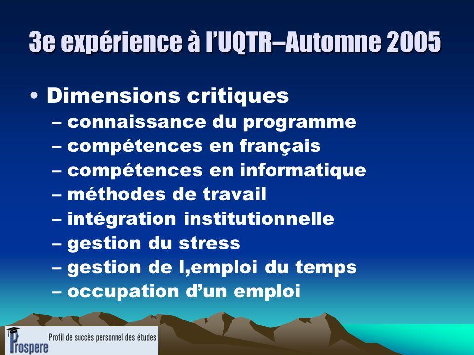 3e expérience à l'UQTR–Automne 2005