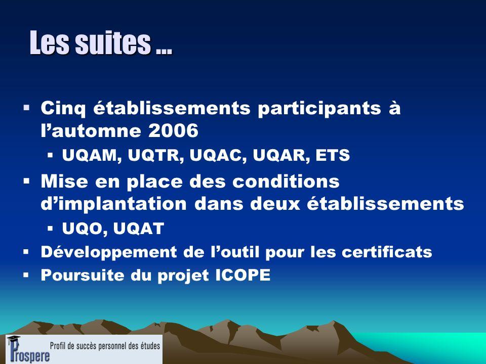 Les suites … Cinq établissements participants à l'automne 2006