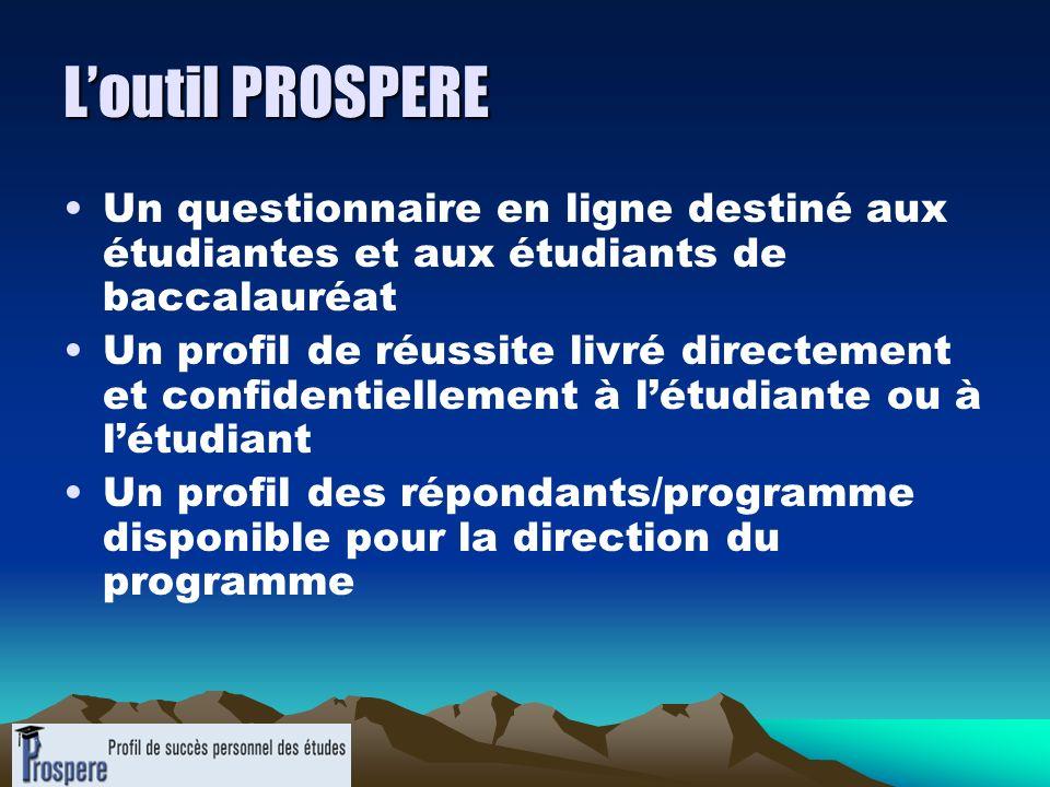 L'outil PROSPERE Un questionnaire en ligne destiné aux étudiantes et aux étudiants de baccalauréat.