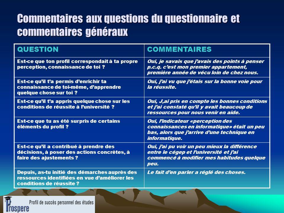 Commentaires aux questions du questionnaire et commentaires généraux