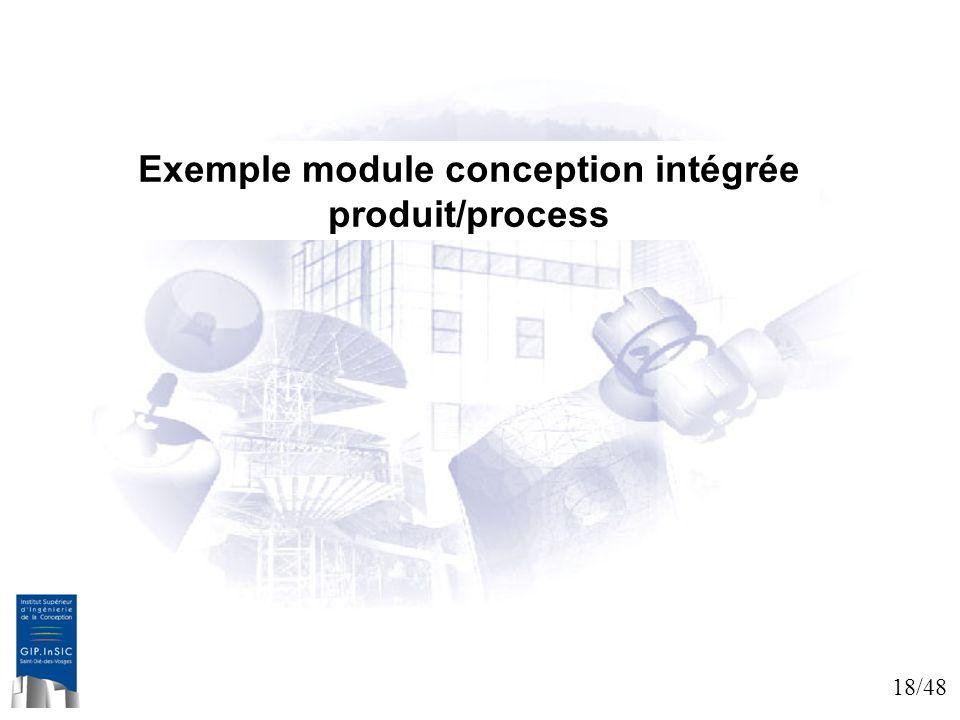 Exemple module conception intégrée produit/process