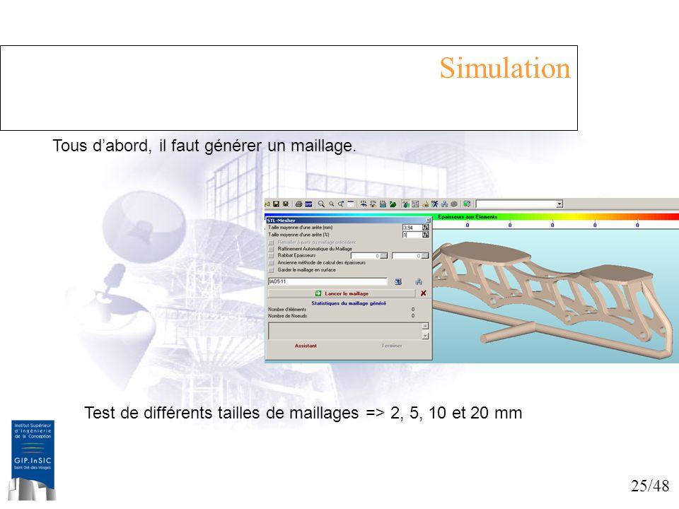 Simulation Tous d'abord, il faut générer un maillage.